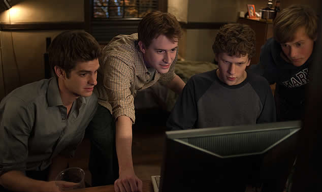From left: Eduardo Saverin (played by Andrew Garfield), Dustin Moskovitz